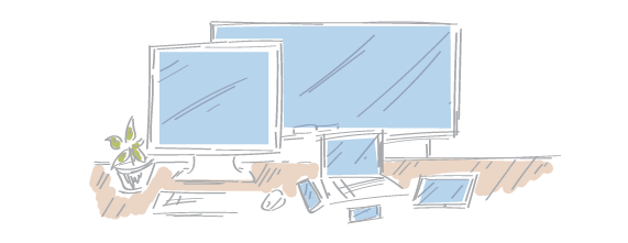 An artistic sketch of a QA person's desk showing a PC, Smart board, laptop, Android, iPhone and tablet along with a plant.